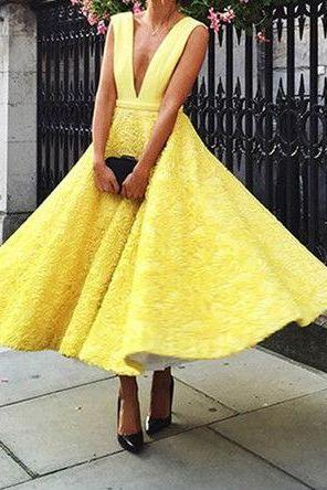 2017 Custom Made Yellow Lace Prom Dress, Deep V-Neck Evening Dress,Sleeveless Party Gown,Ankle Length Prom Dress,High Quality