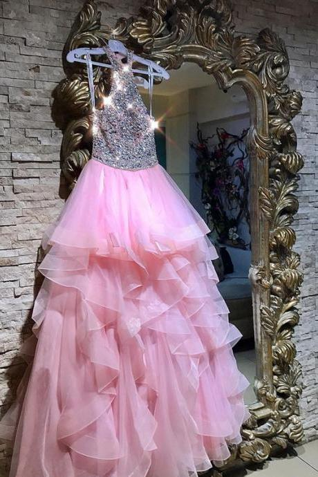 halter prom dress,ruffles prom dress,sequin beaded prom dress,pink ball gowns