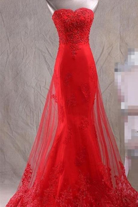 Red Strapless Lace Mermaid Long Prom Dress, Evening Dress