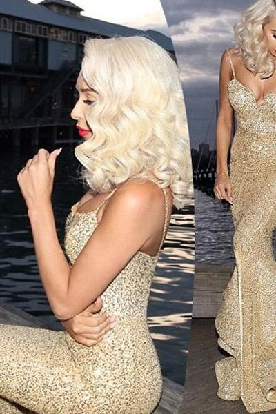 Charming Sexy Prom Dress - Gold Spaghetti Straps Mermaid with Split