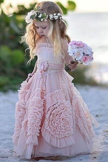 Blush Modern Flower Girl Dress,Lovely Birthday Party Dresses,FGD841