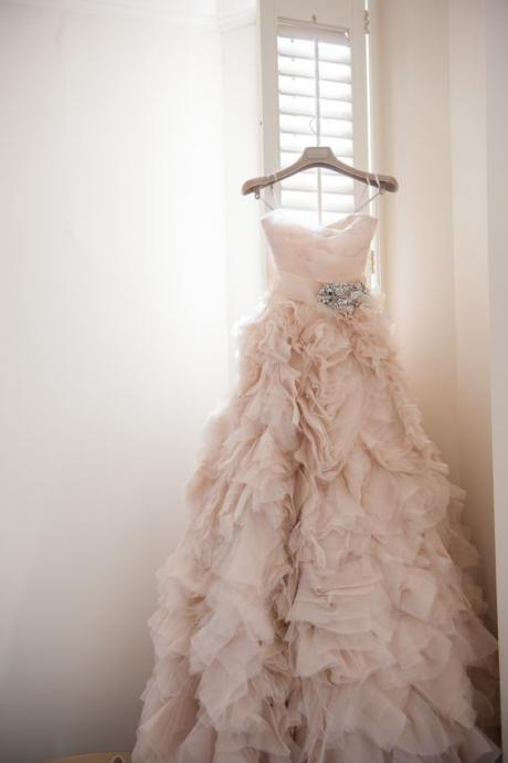 Blush Long Ruffle Wedding Dress Featuring Spaghetti Straps Ruched Sweetheart Bodice,WD848