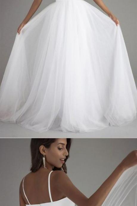 White A Line Sweep Train Sweetheart Spaghetti Layers Tulle Wedding Gown,Cheap Wedding Dress ,WD 872