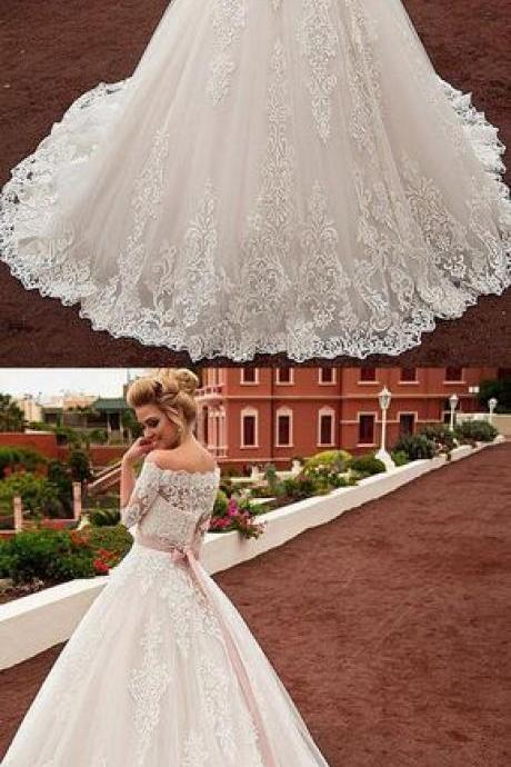 Gorgeous Tulle & Organza Off-the-shoulder Neckline A-line Wedding Dress With Lace Appliques & Belt & Detachable Jacket,W916
