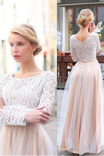 Amazing Lace & Tulle Scoop Neckline A-line Bridesmaid Dresses With Belt,B925