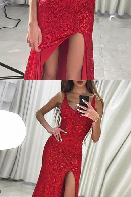 Mermaid Scoop Floor-Length Red Lace Prom Dress with Sequins Split,P984