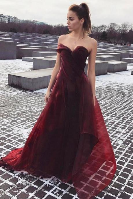 Elegant A-Line Sweetheart Burgundy Long Prom/Evening Dress,P996
