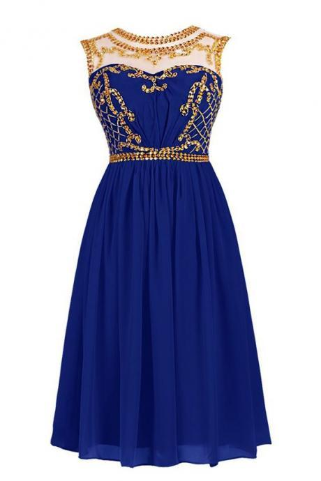 Royal Blue Short Homecoming Dress with Illusion Neckline and Gold Sequin Embellishment,P1004
