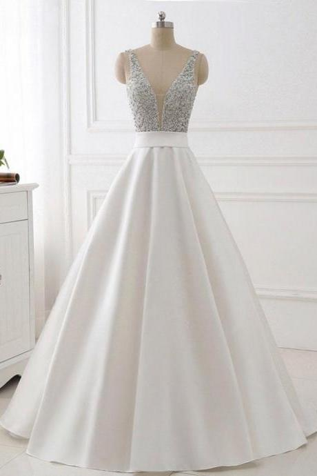 A-line V-neck Beaded Top Ivory Satin Long Prom/Pageant Dresses ,P1027