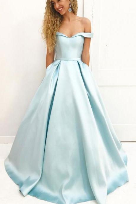 Off the Shoulder Simple Long Prom Dresses,Cheap Simple Formal Prom Dresses ,P1035
