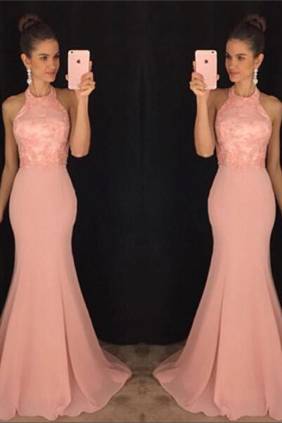2017 New Arrival Prom Dress,Sexy Prom Dress,Chiffon Prom Dress,Mermaid Prom Dress,Sexy Halter Lace Prom Dress,P1041
