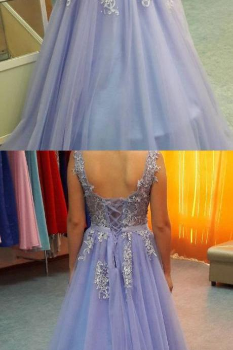 Lavender Prom Dresses, Long Prom Dresses, Lavender Lace Up Backless V-neck Lace Beading Tulle Prom Dresses,P1082
