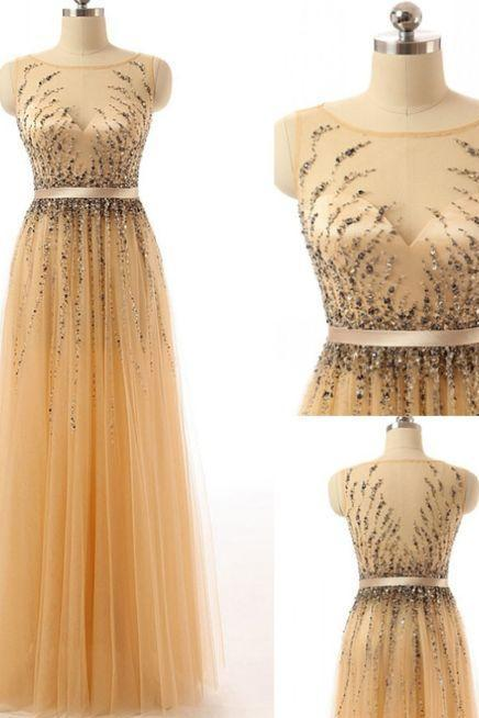 Cheap Beautiful Sleeveless Prom Dresses, Gold Sleeveless Prom Dresses, Long Prom Dresses, Beaded Gold Long Cap Sleeves Modest Prom Party Dresses ,P1101