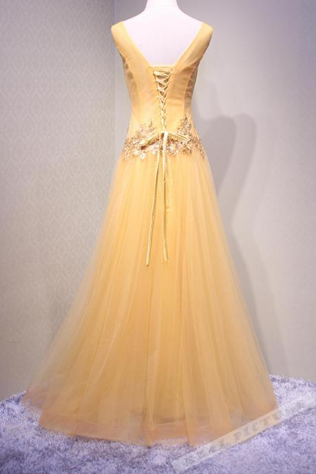 Yellow tulle sequins v-neck applique long prom dress,handmade dress,P1104