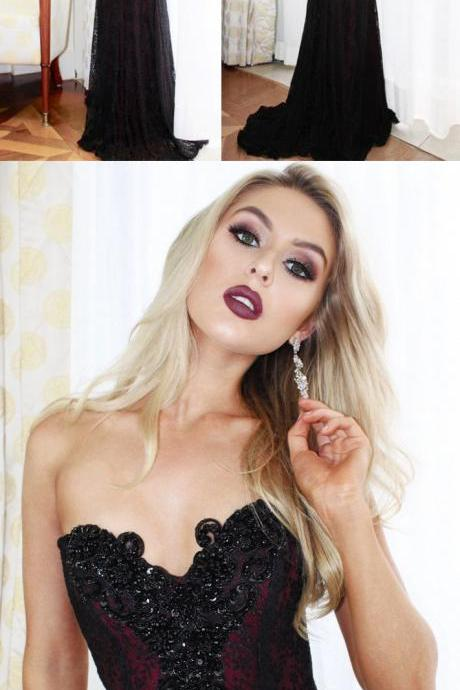 Sweetheart Beaded Long Prom Dress, Mermaid Black Lace Evening Dress,P1140