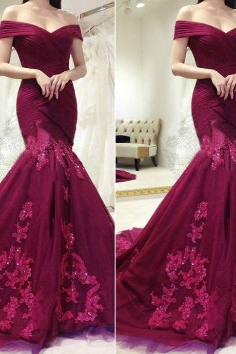 charming lace appliques burgundy off shoulder mermaid formal long prom dress,P1232
