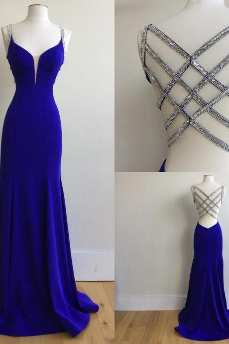 Sexy Mermaid Spaghetti Straps Royal Blue Long Prom Dress with Beading.P1276