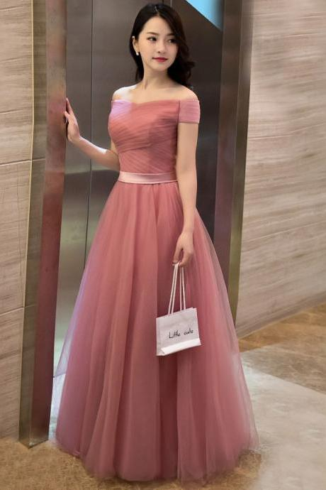Elegant pink A line off shoulder tulle long prom dress, evening dress,P1280