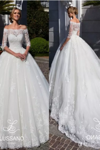 Modest Half Sleeves Lace Wedding Dresses 2018 Arabic Sheer Off Shoulders Appliqued Sweep Train Bridal Gowns,WD1302