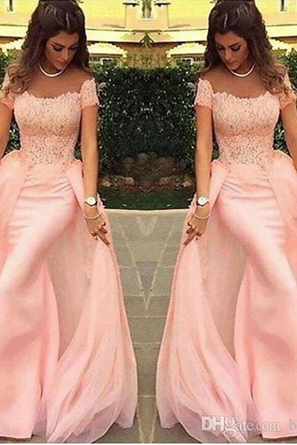 Long Evening Dresses 2017 Mermaid Lace Pink Formal Prom Dress Arabic Evening Gowns,P1309