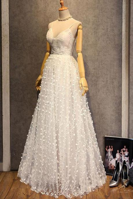 Pretty white 3D lace sweetheart long spaghetti straps evening dress, wedding dress,P1338