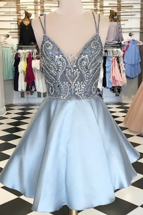 High Neck Straps Short Silver Beads Homecoming Dress,V-Neck Short Prom Dresses,A-Line Cocktail Dresses,Sweet 16 Dresses,Homecoming Dress,H1348