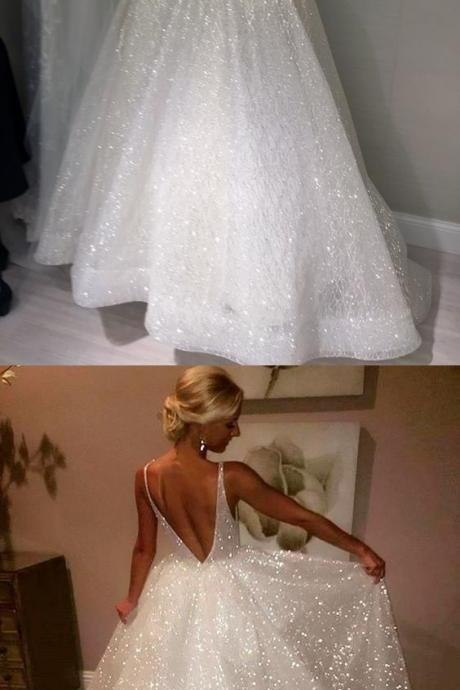 Ball Gown V-Neck Sleeveless Backless Sweep Train Wedding Dress with Sequins,W1358