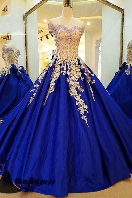 Royal Blue Prom Gown,Applique Prom Dress,Off the Shoulder Prom Dresses,Long Prom Dress A-Line Evening Dress,Ball Gown Prom Dress,Quinceanera Dress ,P1366