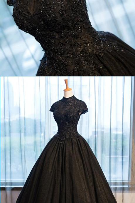 Pretty black tulle cap sleeve high neck long open back formal prom dress, beaded evening dress,P1374