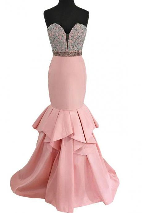 Mermaid Style Sweetheart Beaded Applique Pink Prom Dress,P1395