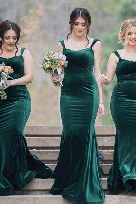 Green Mermaid Spaghetti Strap Formal Prom Gowns, Simple cheap long bridesmaid dresses,BD1418