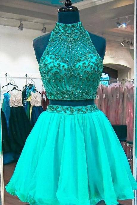 Emerald Green Two Piece Homecoming Dresses Beadings Stylish Short Tulle Prom Party Gowns 2018,H1441