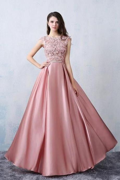 Chic A-line Scoop Pink Satin Applique Modest Prom Dress Evening Dress,P1465