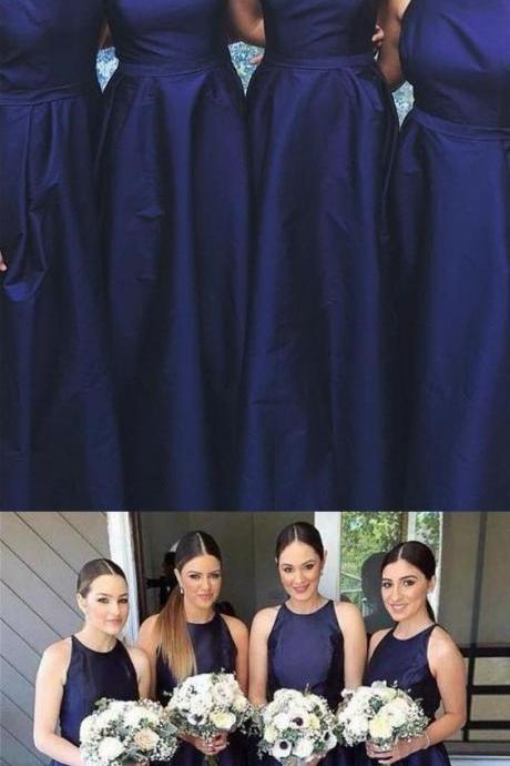 Discount Colorful Prom Dress Wedding Dress A-Line Jewel Floor-Length Purple Sleeveless Satin Bridesmaid Dress,BD1493