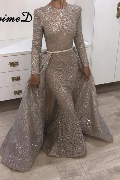 Amazing Sparkle Long Sleeve Sequins Evening Dresses Mermaid Overskirt 2018 Popular Prom Dresses,P1527