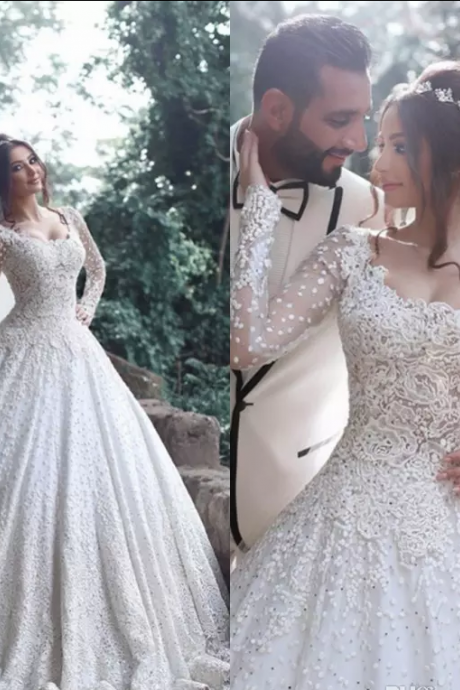 Luxury Lace Ball Gown Wedding Dresses with Long Sleeve 2017 Romantic Appliques Full Lace Sweep Train Wedding Bridal Gowns New Arrival,W1535