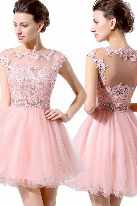 2018 Junior 8th Grade Party Dresses Cute Pink Short Prom Dresses Cheap A-Line Mini Tulle Lace Beads Cap Sleeves Bateau Homecoming Dresses,H1537
