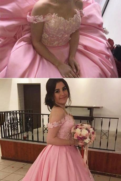 Pink Ball Gowns Prom Dress,Off The Shoulder Quinceanera Dresses,Engagement Dress For Bridal Party,P1577
