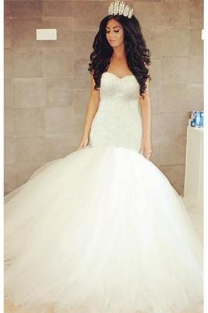 Strapless Sweetheart Beaded Mermaid Wedding Dress