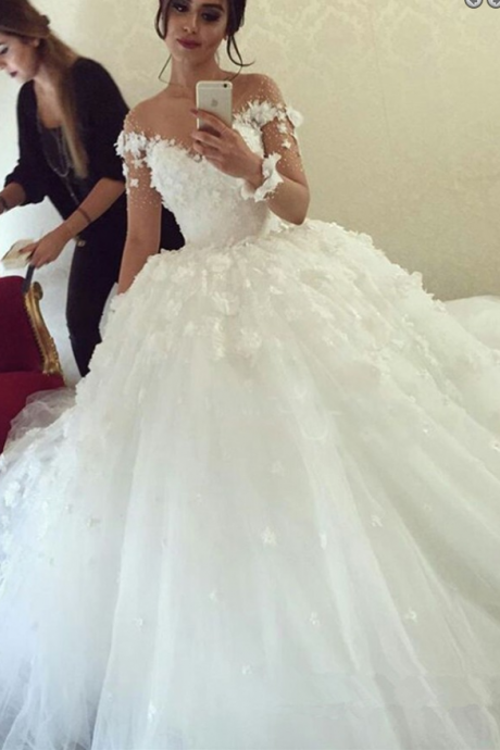 Delicate Illusion Neck Long Sleeves Ball Gown Wedding Dress with Flowers Patchwork,W1597