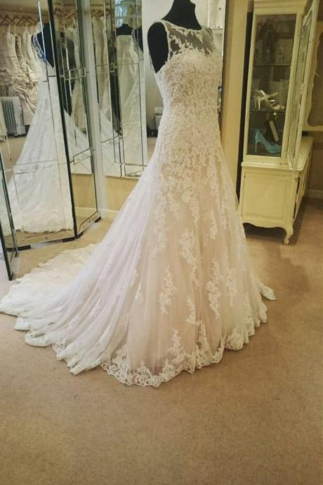 Wedding Dress, tulle LACE Beidal Dresses,Illusion Neckline Ivory Lace Backless Wedding Gowns Princess Wedding Dress For Bride,Sleeveless Formal Evening Dress,Formal Gown,W1601