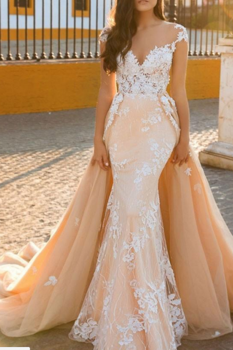 Detachable Train Sheath Bridal Gown Exquisite Applique 2017 Scoop Embroidery Tulle 2 In 1 Wedding Dresses Customize Made,W1606