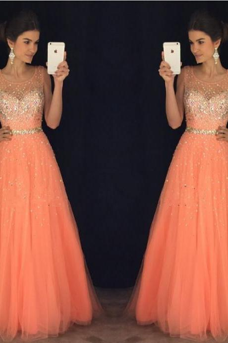 New Arrival Prom Dress,Modest Prom Dress,coral prom dresses,cap sleeves prom gowns,long evening dress,beaded prom dresses 2017,P1632