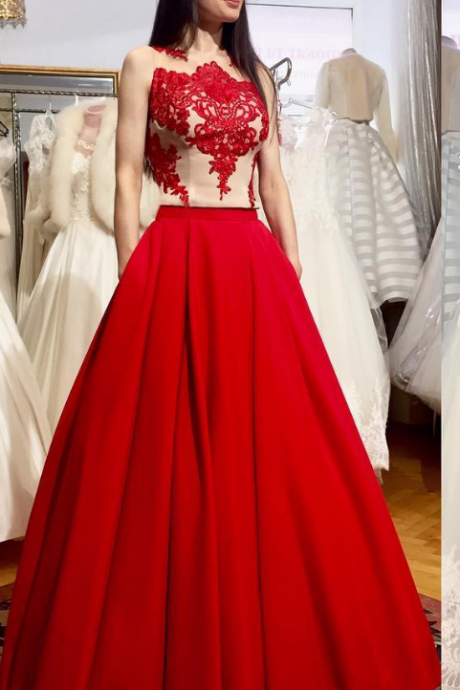 Fashion New Prom Dress, Red Long Prom Dress, Formal Evening Dress,P1642