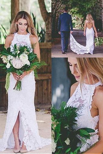 Romantic Lace Halter Neckline Sheath/Column Wedding Dress With Lace Appliques,B1690