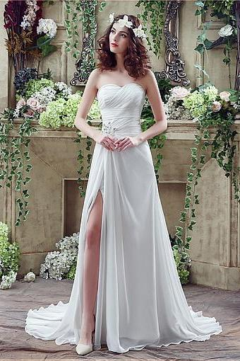 In Stock Fashionable Chiffon Sweetheart Neckline A-Line Wedding Dresses With Rhinestones,W1696