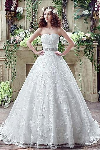 In Stock Modest Lace Sweetheart Neckline A-Line Wedding Dresses With Beads & Rhinestones,W1700