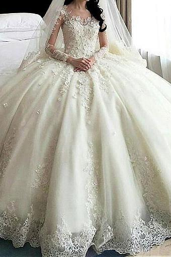 Amazing Tulle & Organza Jewel Neckline Ball Gown Wedding Dress With Lace Appliques & 3D Flowers & Beadings,W1706