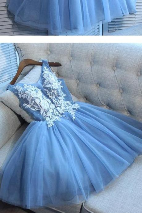 Blue Homecoming Dress Party Lace Homecoming Dress,H1740