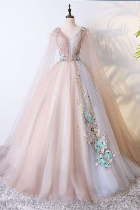 Champagne Tulle Long Prom Dress,Champagne Tulle Evening Dress 2018,P1777